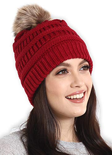 Brook + Bay Faux Fur Pom Pom Beanie - Stay Warm & Stylish - Thick, Soft & Chunky Cable Knit Beanie - Winter Hats for Women & Men - Serious Beanies for Serious Style
