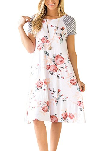 Women's Casual Short Sleeve Pockets Loose T-Shirt Dress Floral Print White ()