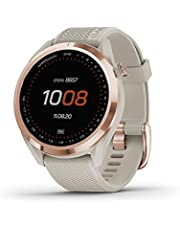 """Garmin Approach S42, GPS Golf Smartwatch, Lightweight with 1.2"""" Touchscreen, 42k+ Preloaded Courses, Rose Gold Ceramic Bezel and Tan Silicone Band, 010-02572-12"""