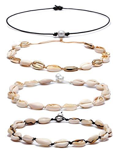 - BOMAIL 4 PCS Bohemian Natural Shell Choker Handmade Rope Pearl Hawaii Beach Necklace Jewelry for Women Girls