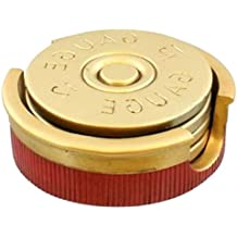 """Custom & Cool {3 1/2"""" Inches} in Set Pack of 4 Round """"Flat & Smooth Texture"""" Small Drink Cup Coaster Made of Cast Resin w/ Padded Bottom & 12 Gauge Shotgun Shell Design [Gold & Red Color] W/ Base"""