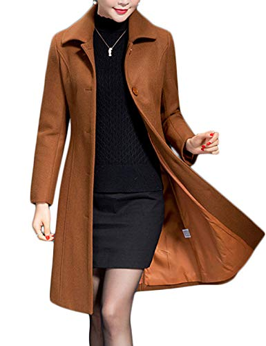Jenkoon Women's Wool Trench Coat Winter Long Thick Overcoat Walker Coat (Caramel, Medium)