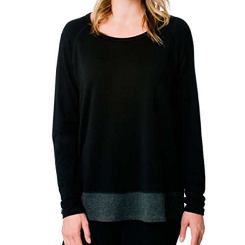 Kersh French Terry Boatneck Pullover Top for Women (S, Black/Asphalt Mix) (Top Terry Boatneck)