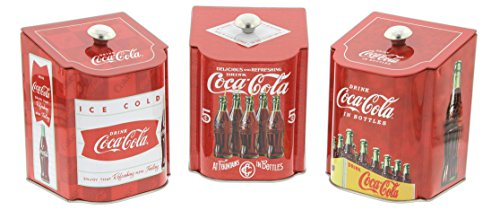 Set Of 3 Tin Box Co Vintage Style Coca Cola Logo Tin Containers With Sloped Lids