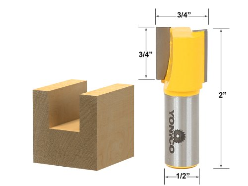 Yonico 14160 Straight/Dado Router Bit with 3/4-Inch x 3/4-Inch 1/2-Inch Shank