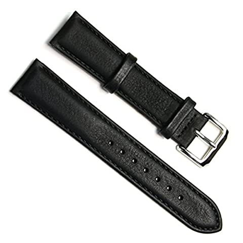 Handmade Vintage Replacement Leather Watch Strap/Watch Band (19mm, Oil Wax Leather/Black)