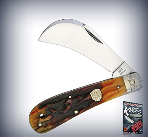 New Rough Rider Hawkbill Brown Stag Bone Handle Stainless Folding Blade Pro Tactical Elite Knife for Home Camping Hunting Rescue + free Ebook by - Hawkbill Brown Bone