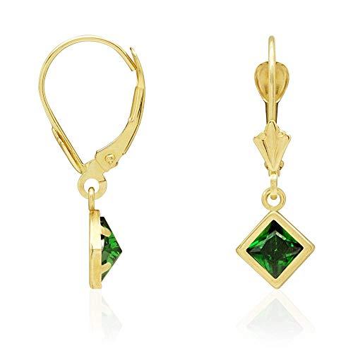 (14k Yellow Gold Bezel Princess Cut Birthstone Dangle Drop Leverback Earrings,)