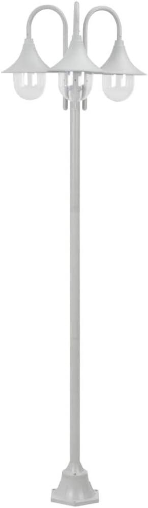 mewmewcat 220 cm Farolas Jardin Exterior con 3 Luces Lámpara para Exteriores Aluminio Blanca E27: Amazon.es: Deportes y aire libre