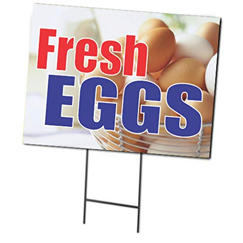 Fresh Eggs | Full Color Double Sided Curbside Sign with Metal Ground Stakes | 24 x 18 -