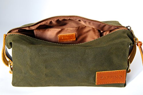 Zaffino Waxed Canvas Genuine Leather Trim Dopp Kit - Unisex Toiletry Bag & Travel Kit by Zaffino (Image #6)