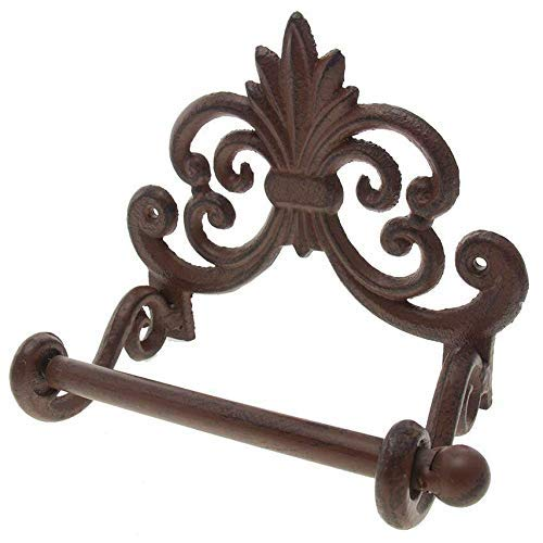 (Comfify Fleur De Lis Cast Iron Toilet Paper Roll Holder - Cast Iron Wall Mounted Toilet Tissue Holder - European Victorian Design - 7.9x4.3x6.3
