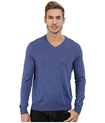 Calvin Klein Men's Merino Solid V-Neck Sweater, Shuttle Blue Heather, Large