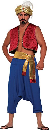 [Men's Aladdin Fancy Dress Sultan Genie Costume Outfit Desert Prince Gold Sash] (Genie Outfit)