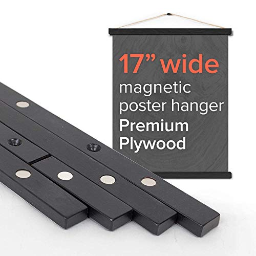 """- Stiicks 17"""" Wide Magnetic Poster Frame Hanger in Black – Premium Plywood and Magnets Strong Enough to Hang Any Length"""