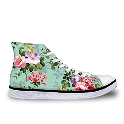 d57523dd237a0 JOYBI Women High-Top Sneakers Lace-Up Leisure Girls Slip On Floral Print  Comfortable Tenis Vulcanized Flats Shoes