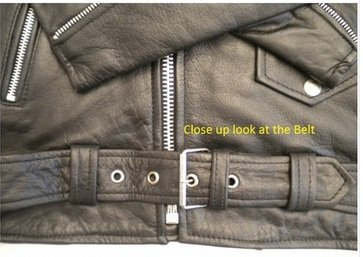 Men's Basic motorcycle jacket split cowhide Leather w/ cell phone pocket