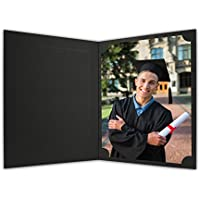 Golden State Art, Cardboard Photo Folder For a 8.5x11 Photo (Pack of 25) PF060 Black with Gold Lining