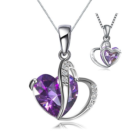 925 Sterling Silver Necklace Seven Colors Top Cz Heart-shaped Pendant ,Give Girl or Woman the Best Gift(925 Chain length 40cm + 5cm) (Silver Chain-Purple Cz)