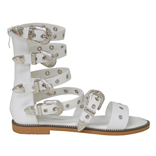 New Ladies Flat Roman Style Buckle Ankle Strap Summer Beach Party Zip up Sandal White oClbMk
