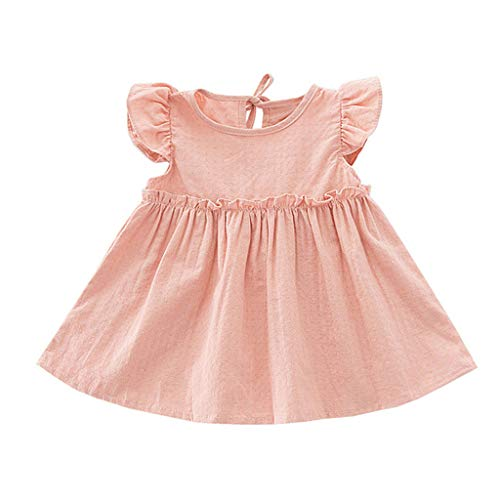 ✔ Hypothesis_X ☎ Baby Summer Flying Sleeve Dresses Solid Color Bow Skirt Dress Ruffled Top Princess Costume Skirt Pink
