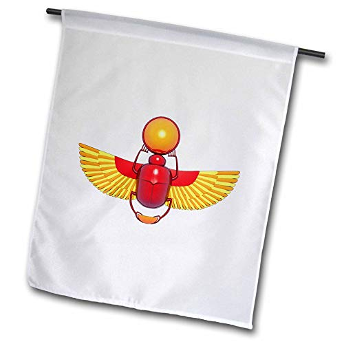 3dRose Macdonald Creative Studios - Egyptian - Colorful Egyptian Scarab Beetle heiroglyph, a Good Luck Symbol. - 18 x 27 inch Garden Flag (fl_295548_2) ()
