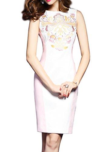 アラーム規制水っぽいノースリーブ スリム 刺繍 バイカラー ワンピース 大きいサイズあり 大人 お呼ばれ 結婚式  二次会 発表会 ドレス ワンピースT0158