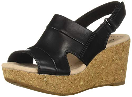 CLARKS Women's Annadel Ivory Wedge Sandal, Black Leather, 120 M US