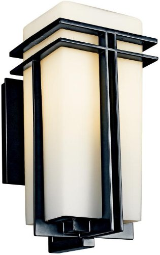Kichler 49201BKFL, Tremillo Aluminum Outdoor Wall Sconce Light, 13 Watts Fluorescent, Black