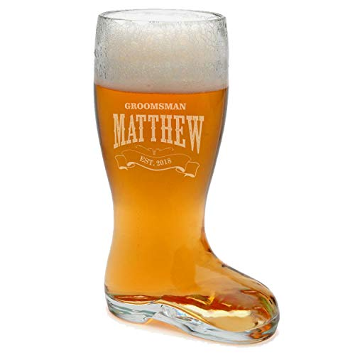 Personalized Glass Beer Boot - Custom Engraved Groomsmen Das Boot Big Beer Glasses - Holds 1 Liter or 33 oz -