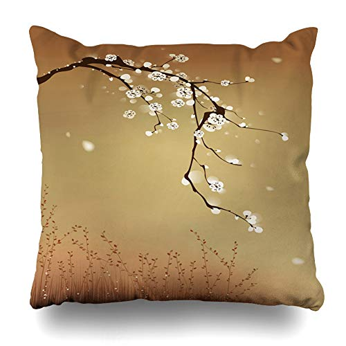 Ahawoso Throw Pillow Cover Cherry Brown Oriental Painting Plum Blossom Wind Grass Blowing White Tree Brush Nature Leaf Design Zippered Pillowcase Square Size 16 x 16 Inches Home Decor Cushion Case