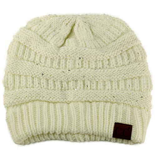 (Winter Trendy Soft Cable Knit Stretchy Warm Ribbed Beanie Skully Ski Hat Cap Sequins Ivory)
