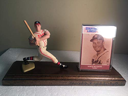 Eddie Mathews Milwaukee Braves Starting Lineup Figure Mounted on Custom Made Wood Base ()