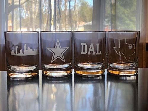Dallas Rocks Glasses Gift Set- 4 Double Rocks Glasses - Dallas - Texas - Dallas Whisky - Barware - Bourbon - Dallas Gift ()