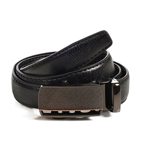 (Womens Ratchet Belt, Leather, Automatic Buckle, Adjustable Belt With No Holes by CANDOR AND CLASS (Up to 44 Inch Waist, W720 Black))