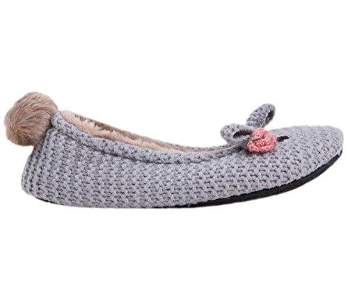 Summer Mae Mujer Zapatillas Super Suave Conejito Gris