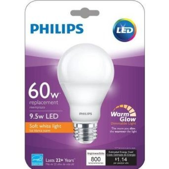 Philips 455840 60W Equivalent 2200K 2700K A19 Dimmable LED Warm Glow Light  Effect Light Bulb