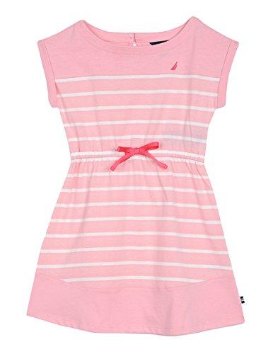 Nautica Little Girls' Stripe Jersey Dress, Light Pink, - Jersey Girls Dress Pink