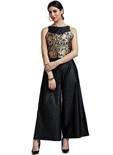 - Jaipur Kurti Women's Pure Brocade & Cotton Silk Black Crop top with Black Palazzo