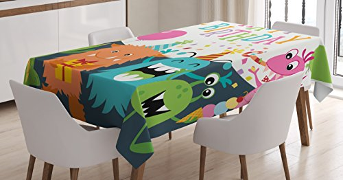 Ambesonne Birthday Decorations for Kids Tablecloth, Little Baby Monsters Party Cones Confetti Balloons Image, Dining Room Kitchen Rectangular Table Cover, 60 W X 84 L inches, Multicolor (Little Monsters Tableware)