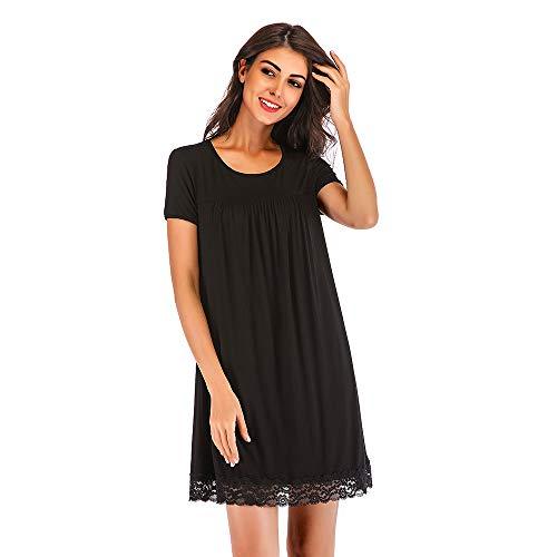 FerDIM Woman Sleep Clothes Casual Nightgowns Knee Length Scoop Neck Nightshirt Black M
