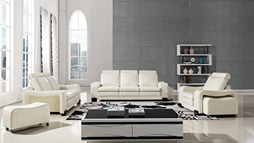 American Eagle Furniture Delaware Collection Modern Living Room Premium Leather 6 Piece Sofa Set and Wheeled Ottomans, Ivory