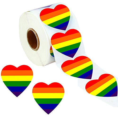 Gay Pride Stickers, TuoFang 500 Love Rainbow Color Ribbon Stickers, 7 Colors Stripes Heart Shaped Roll Tape, 1.6 x 1.6 Inches