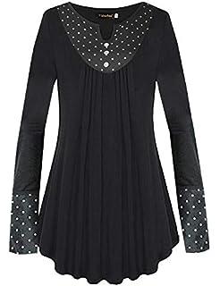 d7926774fb94b Flying Rabbit Women's Long Sleeve Shirt T Shirt Women Shirts Polka Dot  Printed Tunic Top Pleated