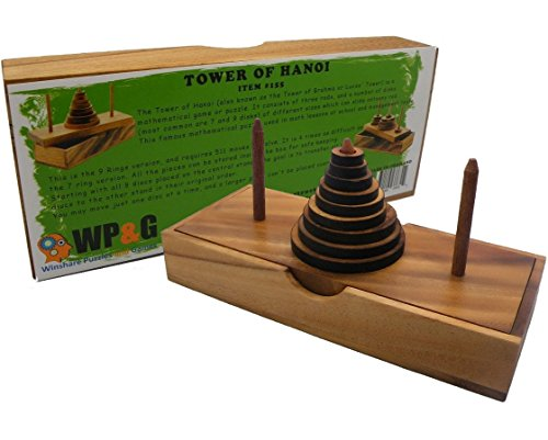 Tower of Hanoi 9 Rings Wooden Puzzle Game Brain Teaser