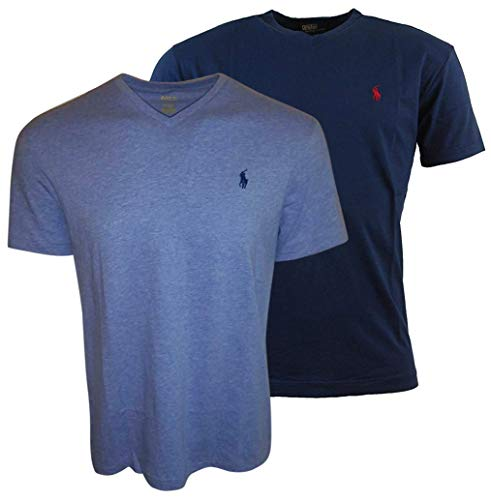Polo Ralph Lauren Men's V-Neck T-Shirt Bundle 2019 Model (X-Large, Navy/Blue)