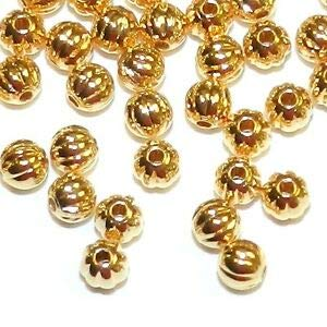 (Steven_store MB470 Bright Shiny Gold 3mm Round Corrugated Plated Brass Metal Beads 100pc Making Beading Beaded Necklaces Yoga Bracelets)