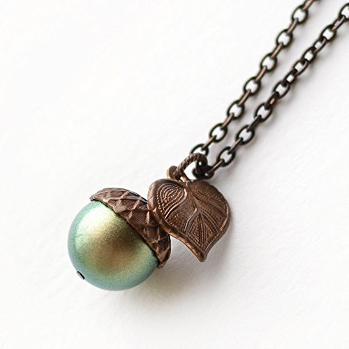 Iridescent Green Simulated Pearl Acorn Necklace, 18 inches