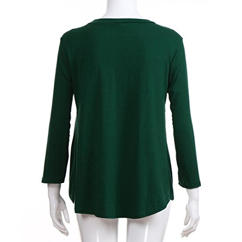 Manches Longues O Vert Volants Cou Solid MuSheng Femmes Plis Blouse Casual Tops Shirt T 0qtqa8