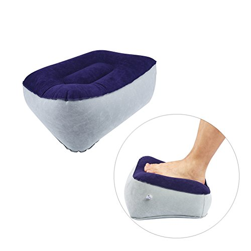 Inflatable Travel Footrest Pad Foot Rest Pillow Soft Flocking Pillow Flights Relax Cushion Ottomans Leg Up With Air Pump For Office, Home Relax, and Travel Use (Gray+Blue) (Pillows Footstools)
